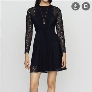 Maje Navy Repine Crepe and Lace Dress